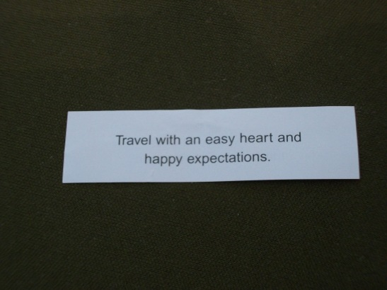 Fortune cookie, travel advice