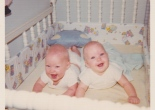 twin babies, old photos