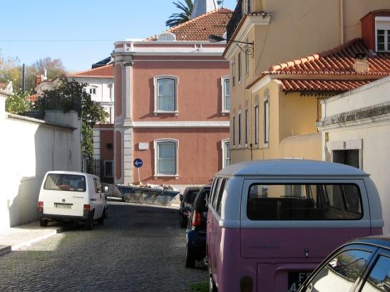Lisbon, pink VW bus