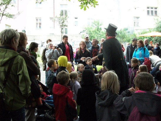 Prague, children, flea circus