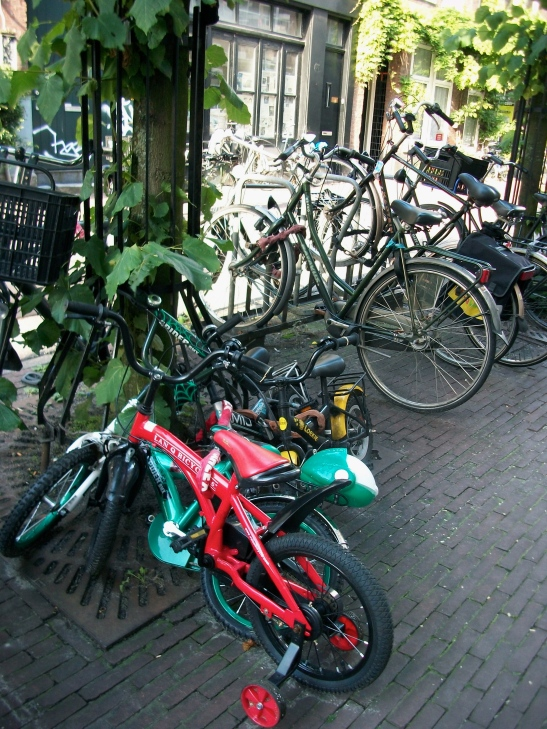 A family of bicycles in Amsterdam