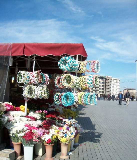 Flower headpieces for sale. Taksim Square, Taksim.