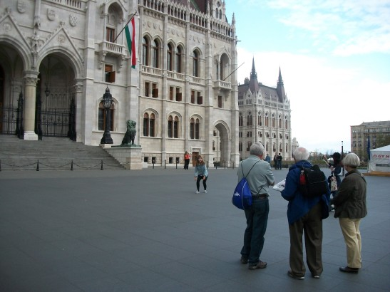 Adorable oldsters in Budapest watching a tourist jump for a photo. :) This was attempt #4.