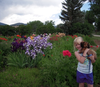 My niece a few years ago. The dog is much longer now. :)